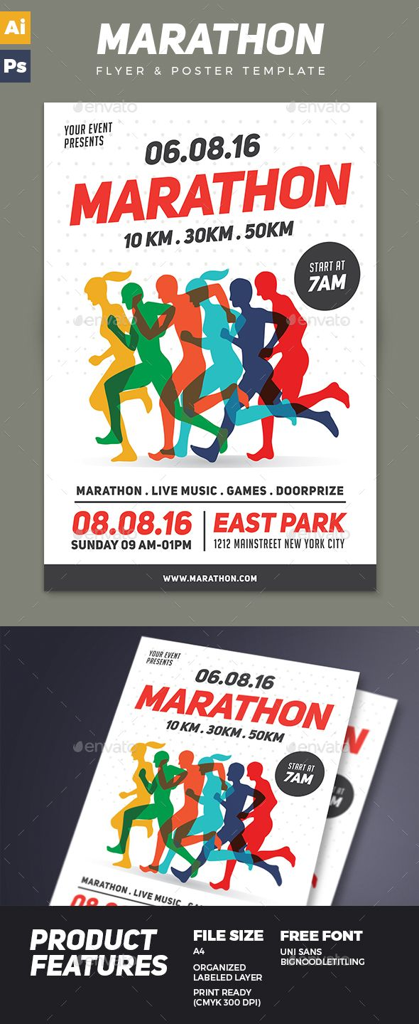 Marathon Event Flyer Template PSD, AI Illustrator. Download here…