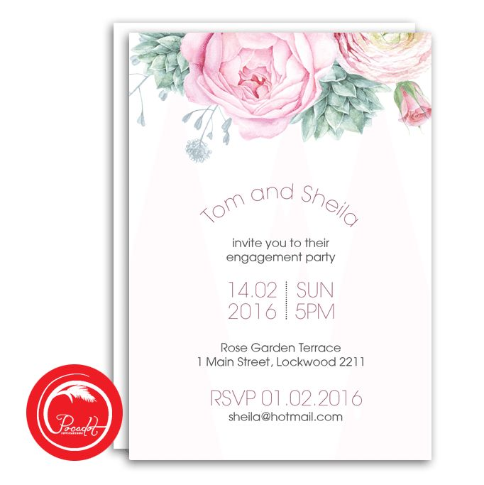 Pastel Floral and Succulents Engagement Party Invitation