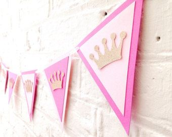 Pink and gold birthday bunting Birthday by Polkadotcorner22