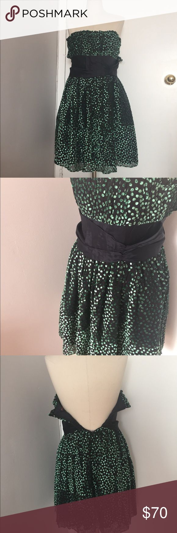 Betsy Johnson Green Velour Strapless Dress Size 2 For the Belle of the  Ball! Perfect