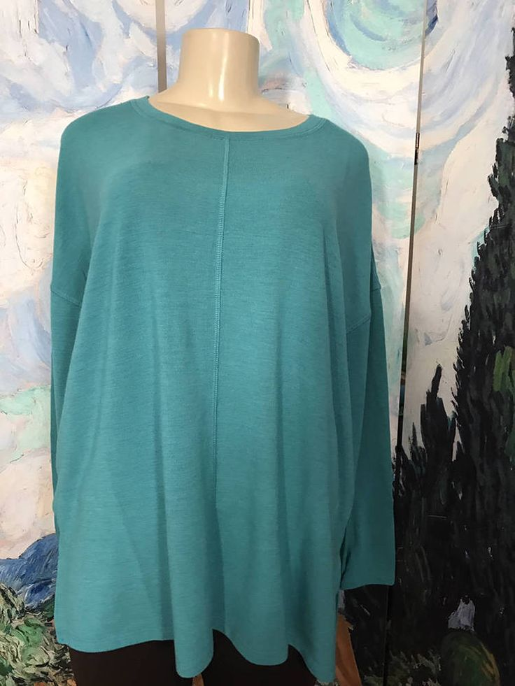 Serena Williams L New Green Crew Neck Jersey Knit Step Hem Long Sleeve Sweater #SERENAWILLIAMS #Tunic #CASUAL