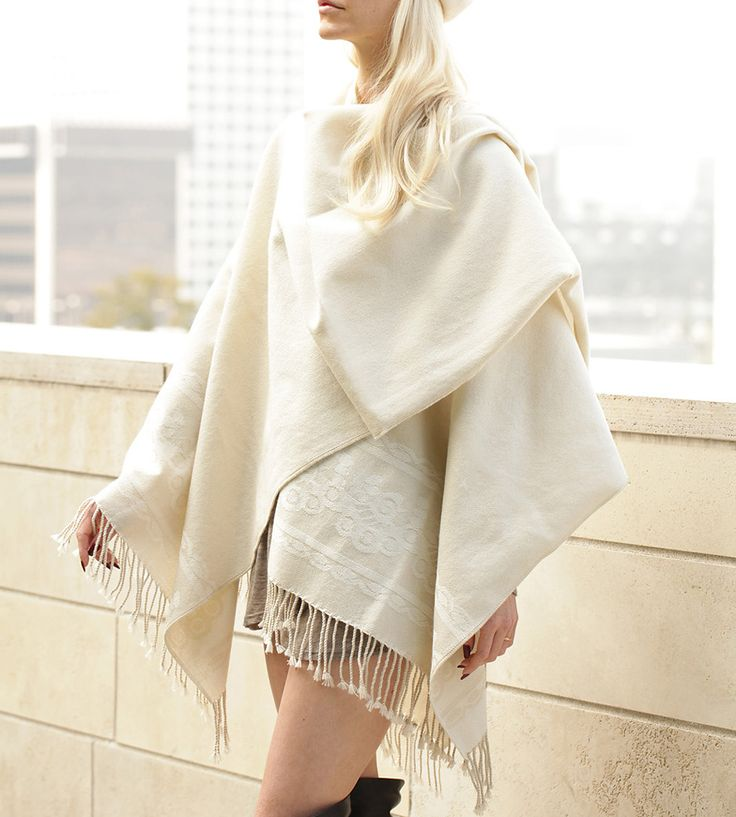 Classic Cream White Poncho by Señor Tyrone on Scoutmob Shoppe. Rock this soft, versatile accessory as a poncho, a cape, a scarf, a wrap or as a serape.