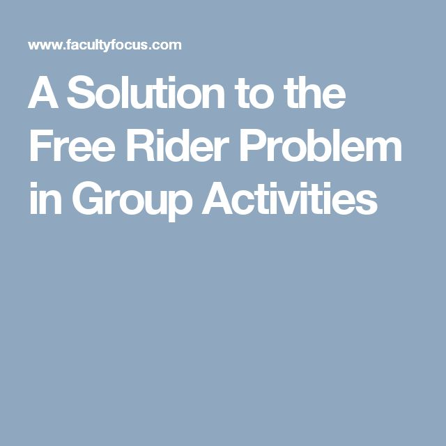 A Solution to the Free Rider Problem in Group Activities