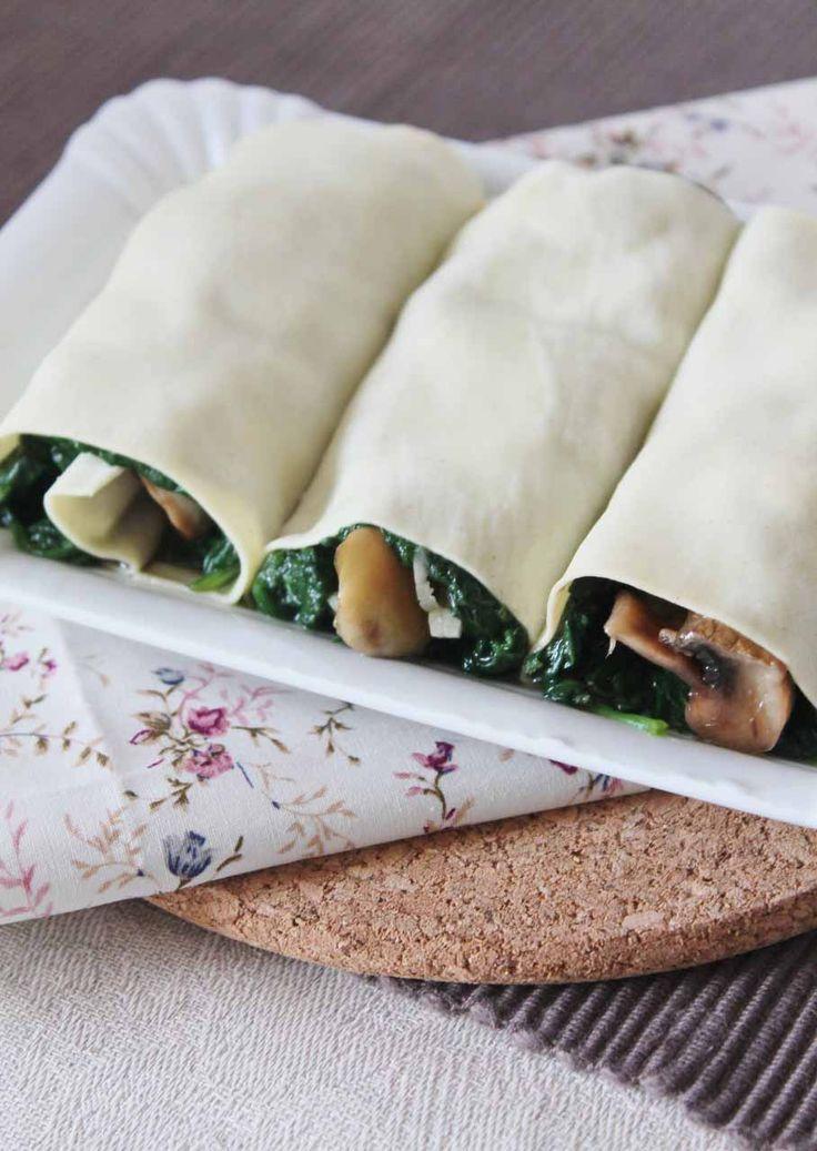 Canelones de espinacas y champiñones #food #foodie #pasta #cannelloni #spinach #mushrooms