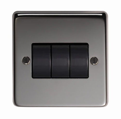 Black Nickel Triple Light Switch - This triple light switch is a high quality product, with a black nickel finish. The black nickel finish is elegant and beautifully highlights the texture of the steel.