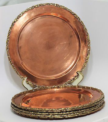 Set of 6 Vintage SOLID COPPER CHARGER Plates - Applied Brass Edge 11  Hand Made & 242 best COPPER PLATED DECOR images on Pinterest | Copper Dishes ...