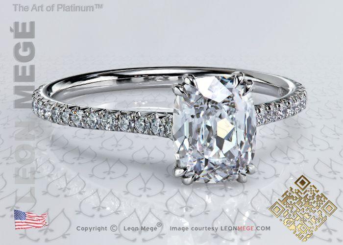 401™ Elongated True Antique™ Cushion Diamond Solitaire Engagement Ring by Leon Megé