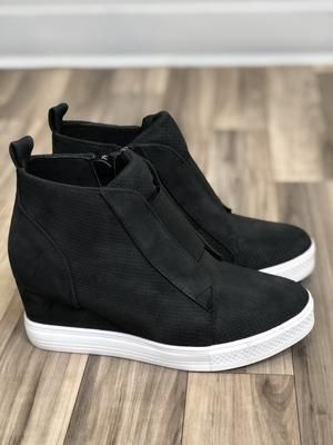 Zoey Wedge Sneaker | Black - MOB