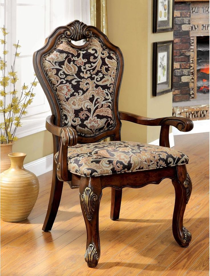 Dining Arm Chair Formal Cherry Traditional Wood Veneer Seat 2 Set Furniture New #FurnitureofAmerica #Traditional #Dining #ArmChair #Chair #Furniture