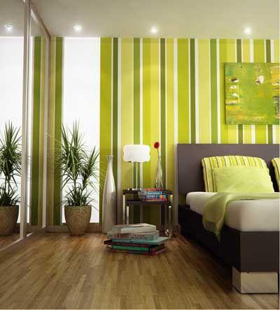 dormitorio cuarto habitacion pintada a rayas verdes y blancas