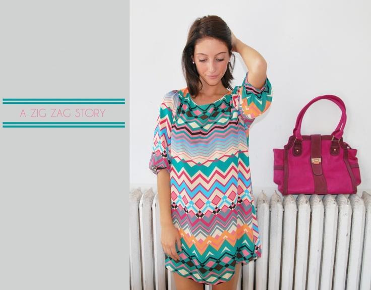 zigzagPrints Dresses, Fuchsia Bags