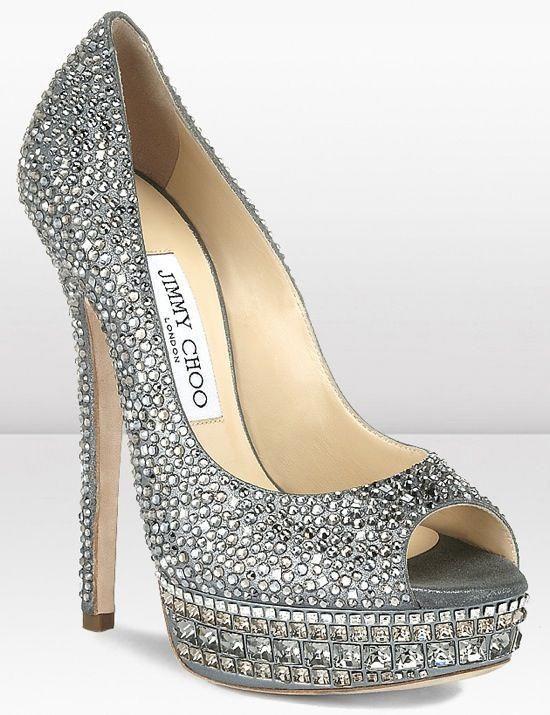 9931a246126 Rhinestone Silver Jimmy Choo High Heels #JimmyChoo | Jimmy Choo ...