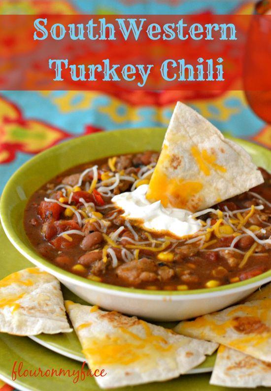 SouthWestern Turkey Chili | http://flouronmyface.com/2014/09/southwestern-turkey-chili.html