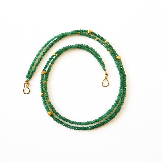 Double Strand Emerald necklace gold 18K  Handmade by RuthaJewelry