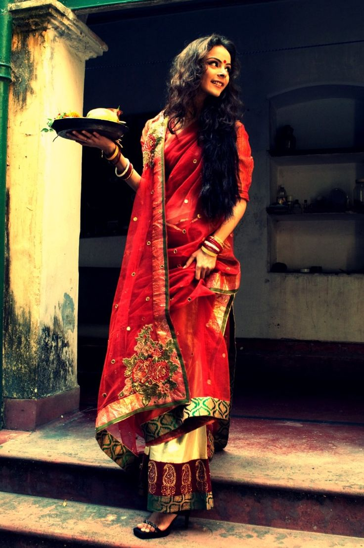 red saree  more inspiration @ http://www.ModernRani.com