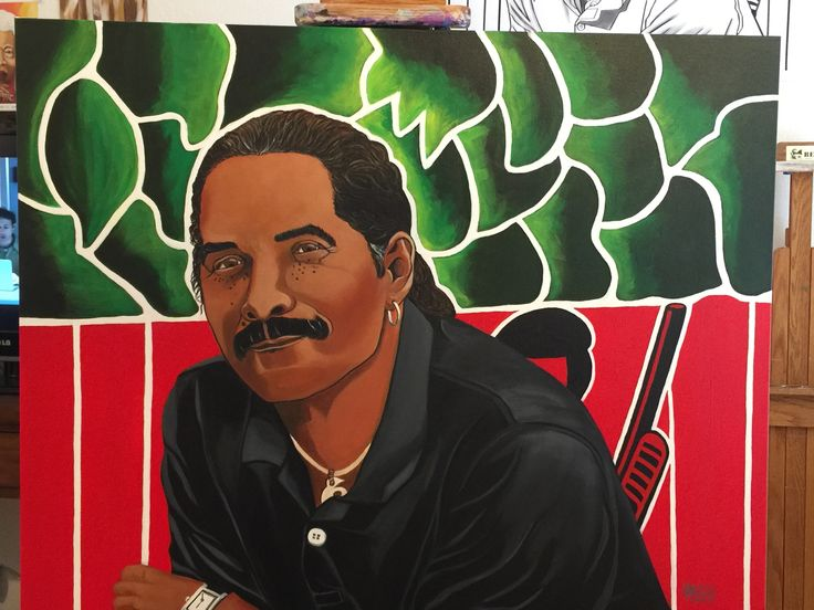 Aaron Dixon portrait 20x30 Acrylic on Canvas president of the Seattle Black Panther Party.