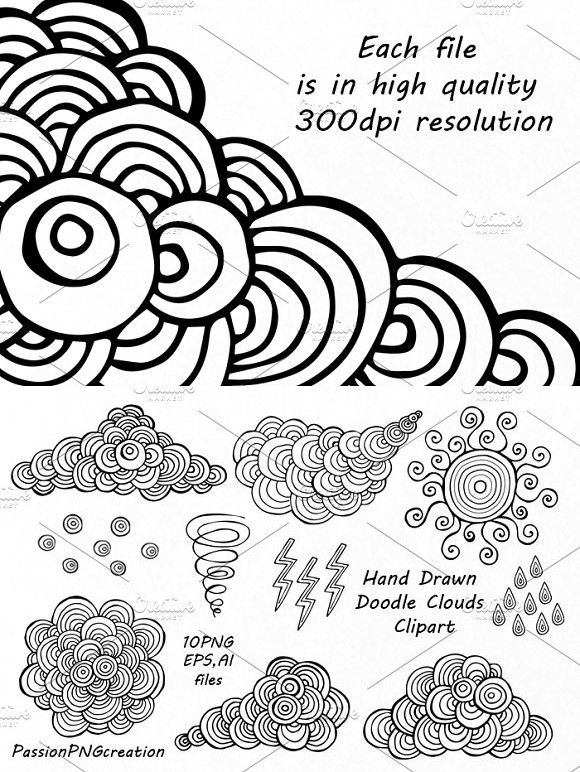 Hand Drawn Doodle Clouds Clipart