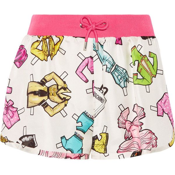 Moschino - Printed Silk Shorts (728.280 COP) ❤ liked on Polyvore featuring shorts, white, white shorts, white silk shorts, multi colored shorts, pull on shorts and silk shorts