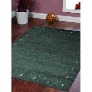 Oriental Hand Knotted Modern Gabbeh Silk Carpet Indian Area Rug (8′ Square – Green)