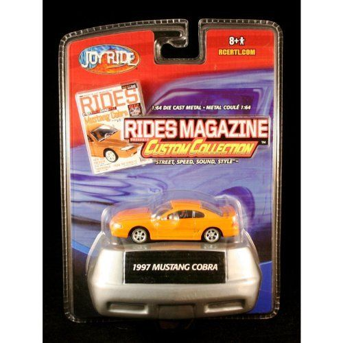 1997 MUSTANG COBRA Joy Ride RIDES MAGAZINE CUSTOM COLLECTION 1:64 Scale Die Cast Vehicle by Rc2. $7.77. Originally released in 2004 - Retired / Out of production. Vehicle measures approximately 3 inches long.. From RC2. Ages 8 and up. 1997 MUSTANG COBRA Joy Ride RIDES MAGAZINE CUSTOM COLLECTION 1:64 Scale Die Cast Vehicle. RIDES, The Illest Car Magazine Ever, presents the Custom Collection. From the fast and flossy to slick and stylish, the wild whips of the RIDES Magazine Custo...