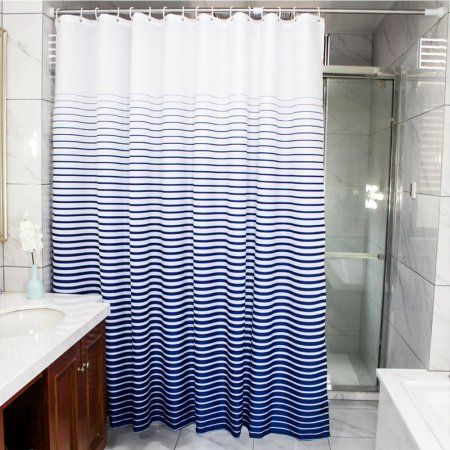Fabricmcc Shower Curtain Fabric Striped Navy And White Waterproof  Decorative Shower Curtains For The Bathroom Shower