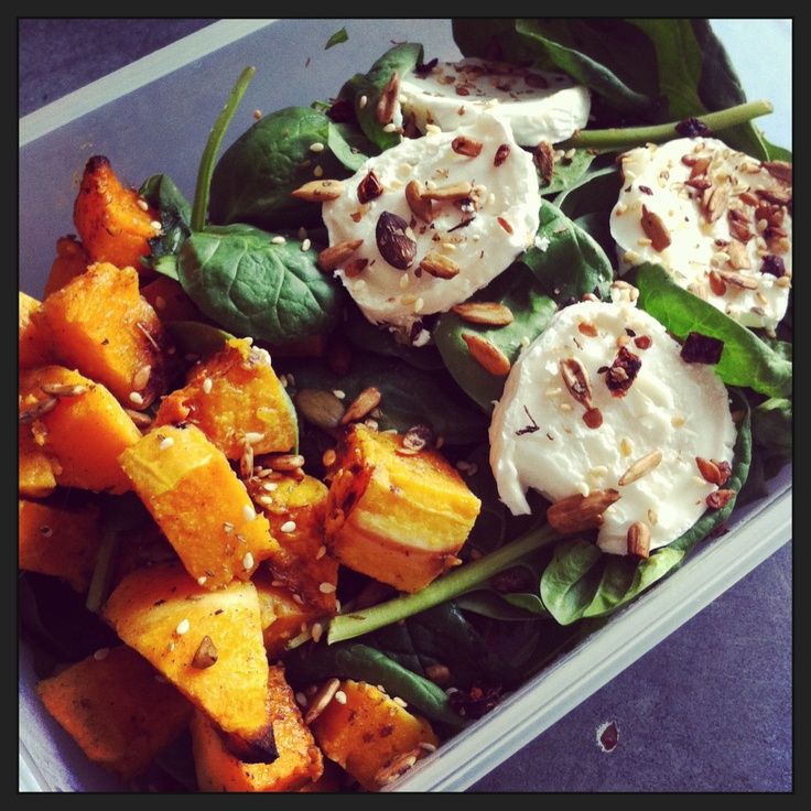 Goats cheese and roasted squash packed lunch salad with mixed seeds