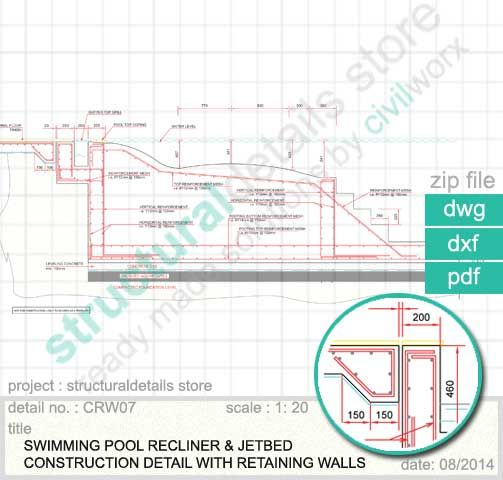 Swimming pool recliner and jetbed construction detail detail and dimensioning of an in water for Swimming pool overflow detail dwg
