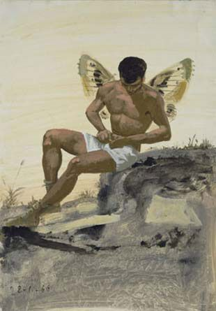 Winged spirit buttoning his underpants  - Yiannis Tsaroychis