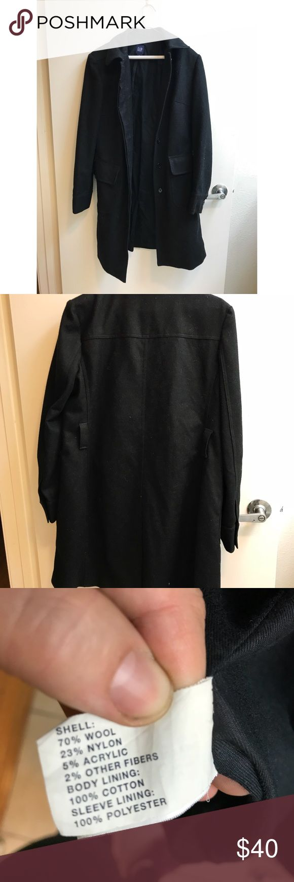 Gap Men's Wool Trench Coat L Sophisticated men's trench coat from the Gap in size L. The shell is a wool blend and the lining is 100% cotton. It has flap pockets and button closures.   Good used condition. The only noticeable issue is that it's missing the belt for the belt loops. You could easily use a different belt (it wouldn't be hard to find a matching one) or forego the belt all together. GAP Jackets & Coats Trench Coats