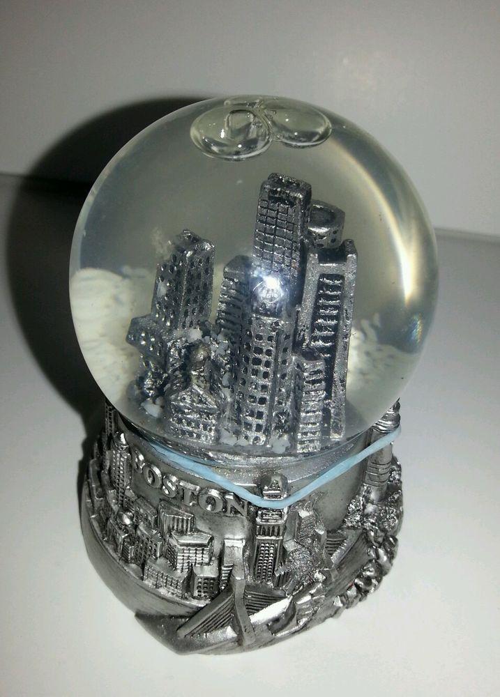 Boston Silver Massachusetts Snow Dome Snow Globe Usa