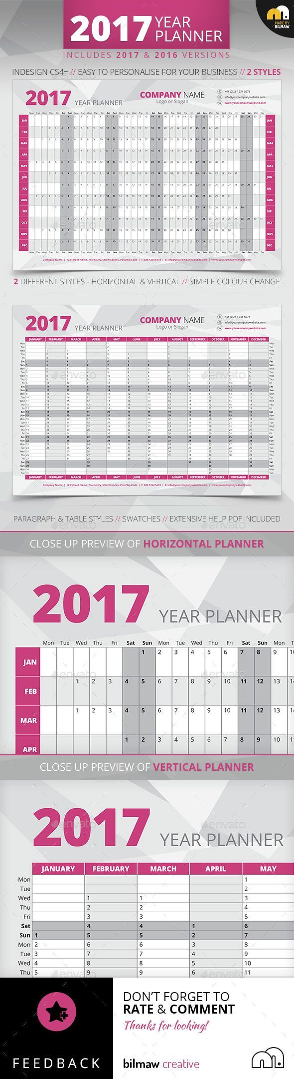 Year Wall Planner | 2017 YEAR WALL PLANNER 2 Different Layouts included – Horizontal & Vertical | Printable template.