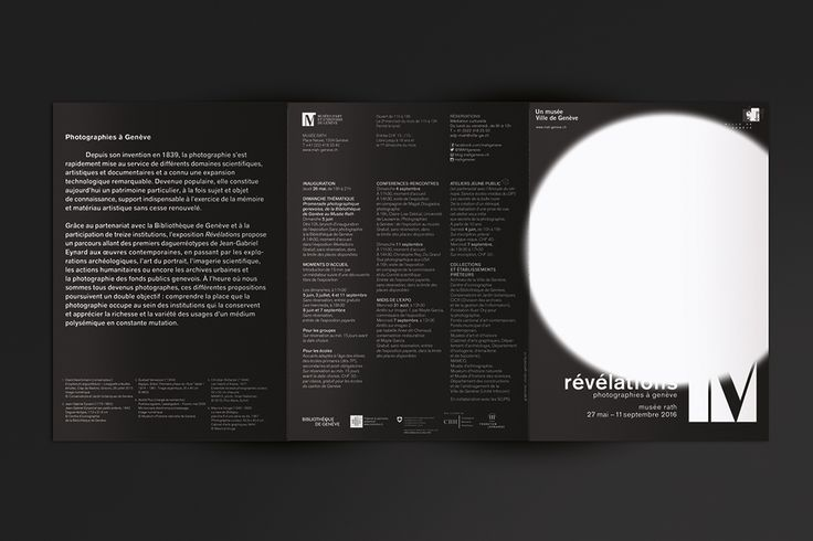Conception graphique et réalisation de l'ensemble de la communication visuelle ainsi que l'habillage scénographique pour l'exposition « Révélations, photographies à Genève » au Musée Rath de Genève.