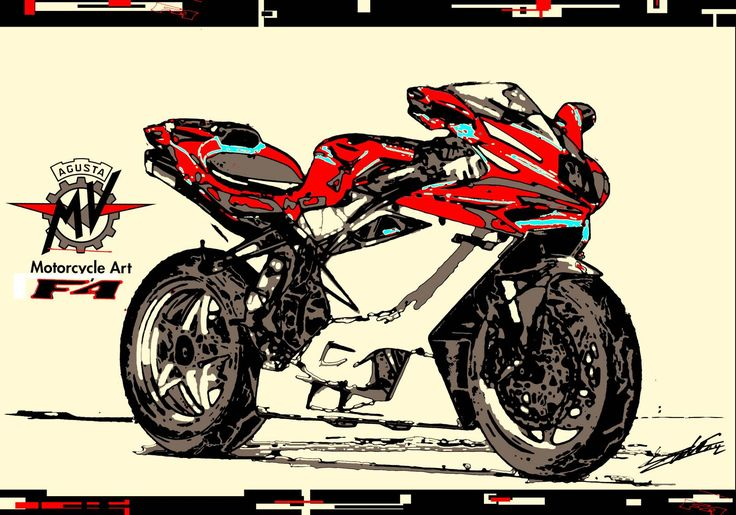 Tableau peinture moto MV Agusta F4 moderne