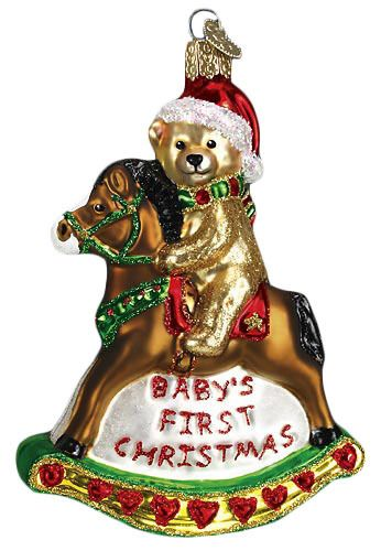 Old World Christmas Rocking Horse Teddy- Baby's 1st Christmas Glass Ornament