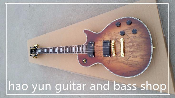 Na magazynie! gitara elektryczna gorąca sprzedaż panel przezroczysty brązowy paul klienta electric guitar les lp mapa 6 struny guitars