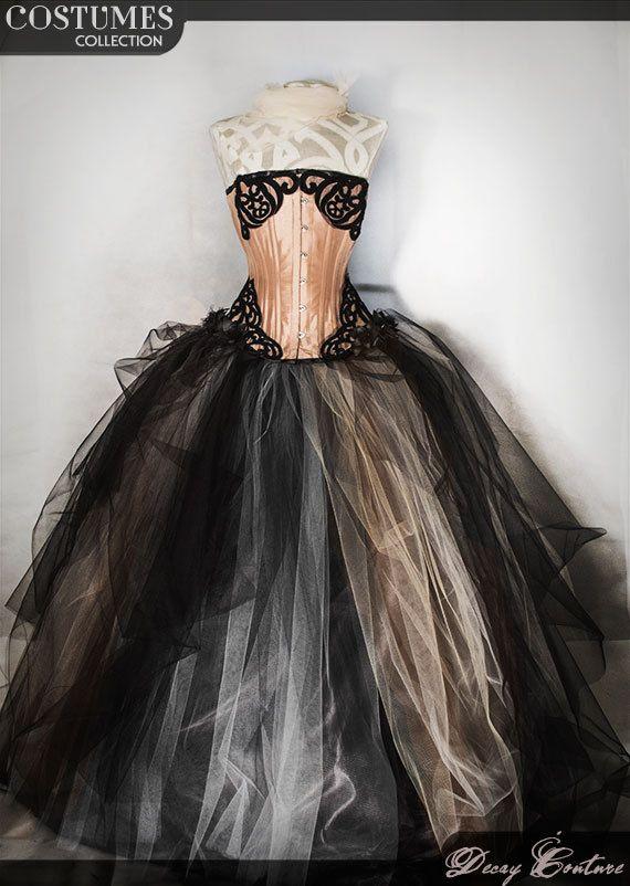 VINTAGE abito da sposa, abito da ballo con crinolina, decorazioni stile retro, tulle, corsetto vittoriano