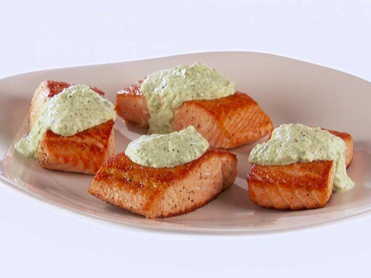 Pan-Fried Salmon with Green Goddess Tzatziki Recipe : Giada De Laurentiis : Food Network - FoodNetwork.com