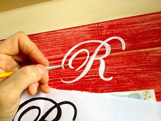 How to do letter stenciling on wood signs; Make a tray (wedding gift, too)