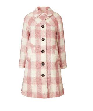Lowrie pink & cream wool blend coat Sale - Orla Kiely Sale