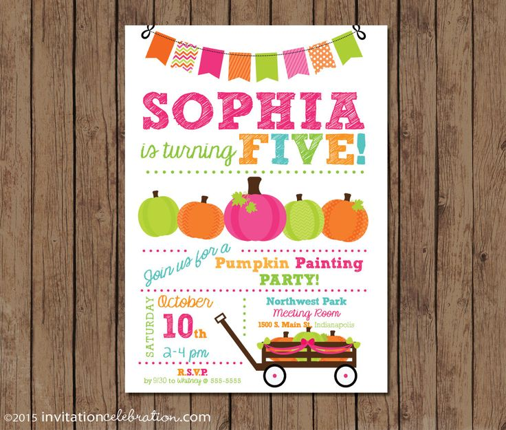 Pumpkin Painting Party - PRINTABLE - Pink - Orange - Green - Turquoise - Girl Birthday - Choose Digital Format or Printed w/Envelopes by InvitationCeleb on Etsy