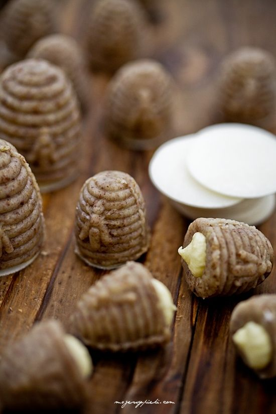 Tiny Praline Hives with filling--the size of a thimble...