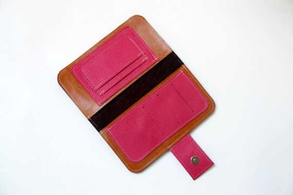 Tan Women's Leather wallet Handmade Wallet Iphone by PansyBag