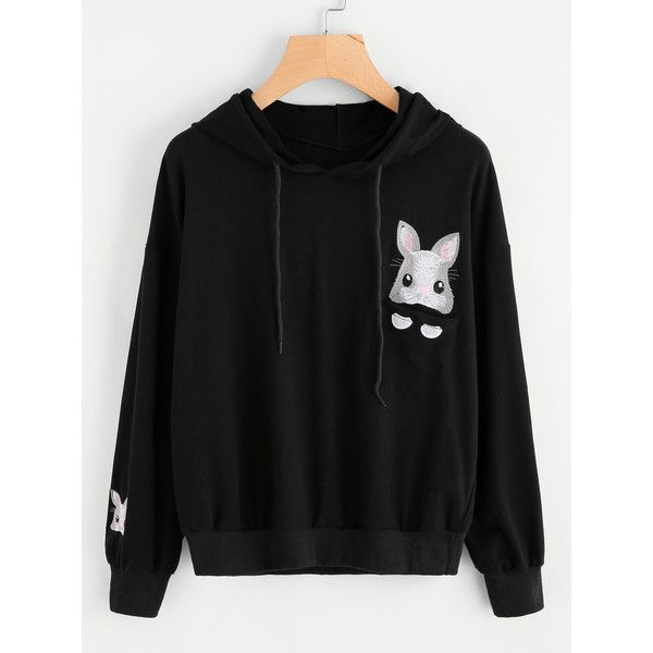 SheIn(sheinside) Rabbit Embroidered Hoodie (202.440 IDR) ❤ liked on Polyvore featuring tops, hoodies, black, hooded sweatshirt, embroidered top, long sleeve tops, hooded pullover sweatshirt and pullover hoodies