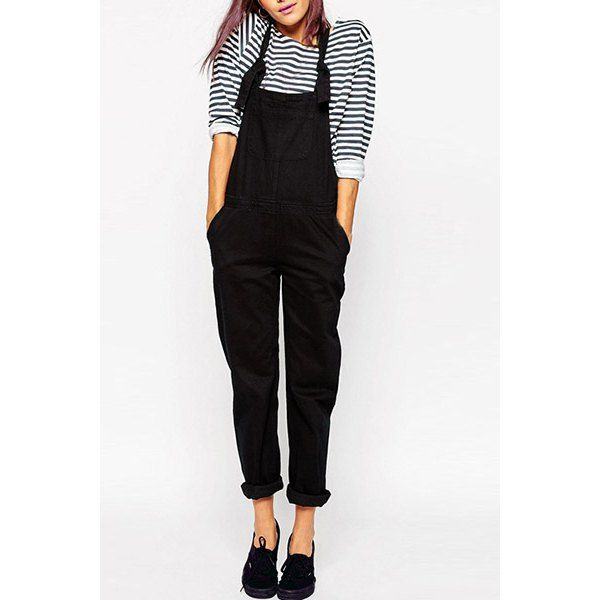 Casual Mid-Waisted Pure Color Pocket Design Women's Overalls