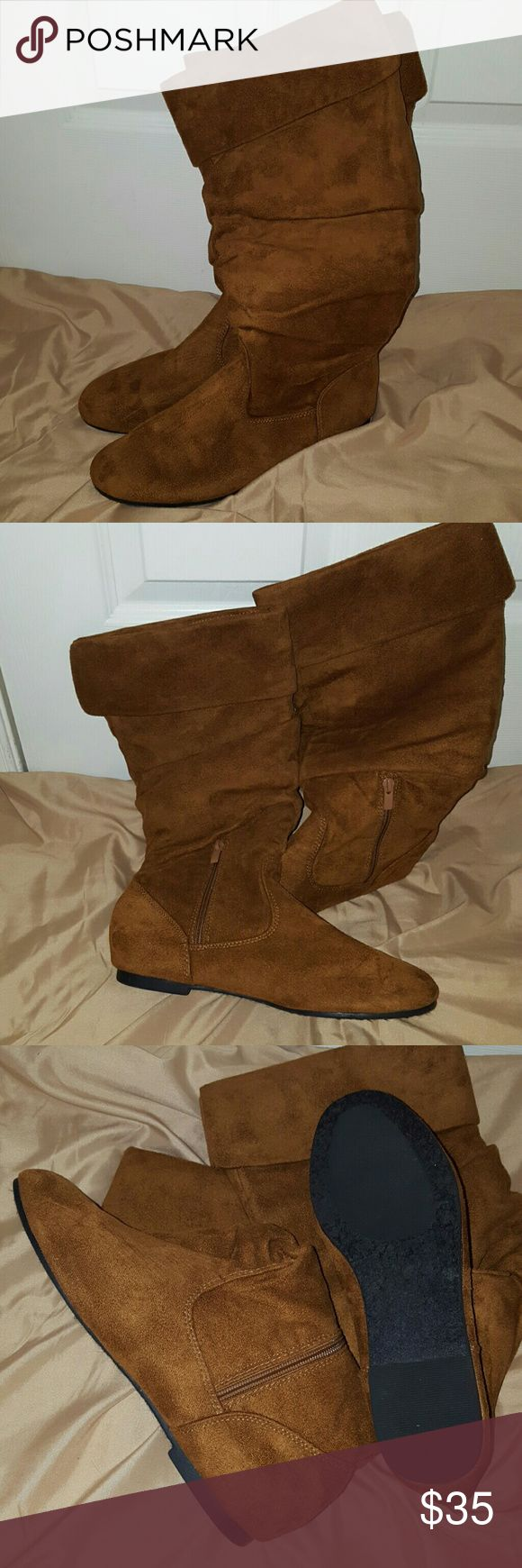 Tan faux suede knee high boots Max collection women's tan knee-high boots. Only wants they are in excellent condition Max collection Shoes Winter & Rain Boots