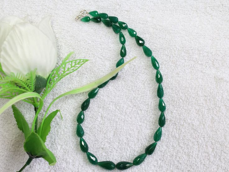 1 Strand 100% Natural AAA Quality Green Onyx Drops Beads Necklace 16x8mm-8x5mm Faceted Lobster Lock Gemstone Necklace 15'' Long Strand by zakariyagems on Etsy
