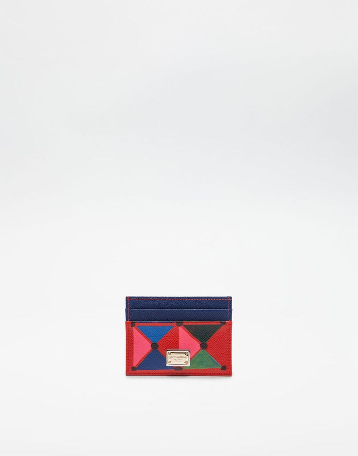 CREDIT CARD HOLDER IN PRINTED DAUPHINE LEATHER