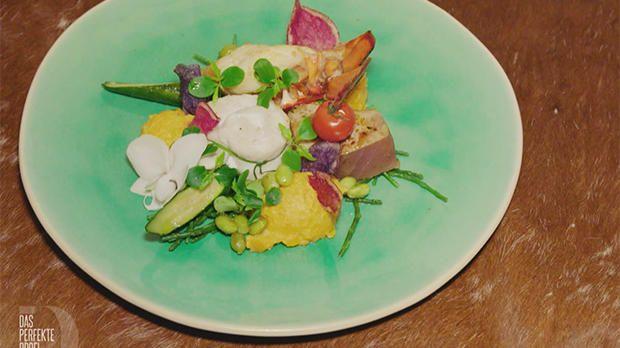 Rezept: Trio vom Meer mit Süßkartoffelpüree an Limettensoße (Meta Hiltebrand)