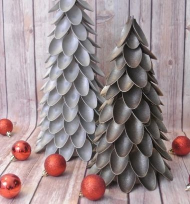 Plasctic spoon Christmas tree // Karácsonyfák műanyag kanalakból // Mindy - craft tutorial collection