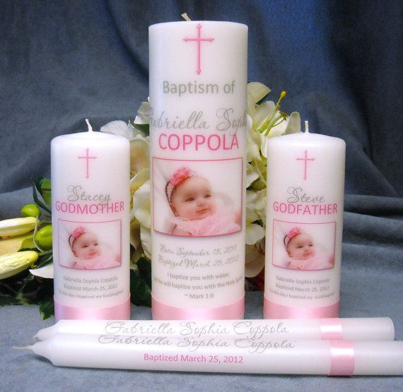 Baptism Christening Candle with God Parent by PersonalizedCandles, $50.00